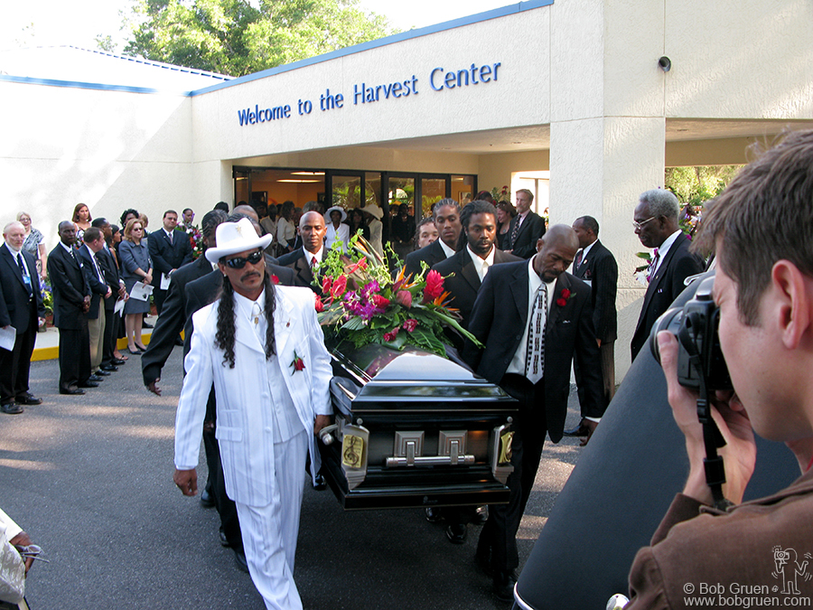 June 7 - Gainesville, FL - Bo Diddley's Funeral in Gainesville, Florida was a very spiritual sendoff. Local leaders spoke of how much Bo had given to the community and a letter was received from Bill Clinton praising Bo.