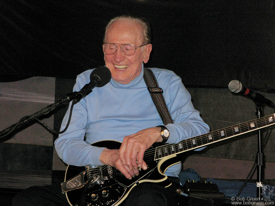 June 9 - NYC - Guitar legend Les Paul turned 93 this year with a big smile and a great show at his regular venue, the Iridium Jazz Club.