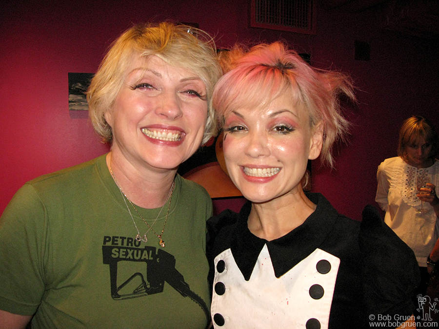 June 22 - NYC - Debbie Harry and Liz McGrath of Ms Derringer pose backstage at the Nokia Theater in Times Square after Ms Derringer opened the Blondie show there.