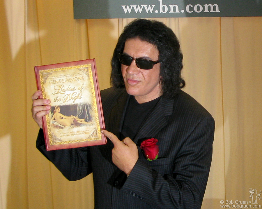"July 11 - NYC - Gene Simmons promotes his new book ""Ladies of the Night - personal reflections on the oldest profession"". Lines for a signed copy went around the block."