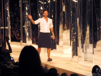 September 8 - Marc Jacobs looks comfortable at the end of his fashion Show.