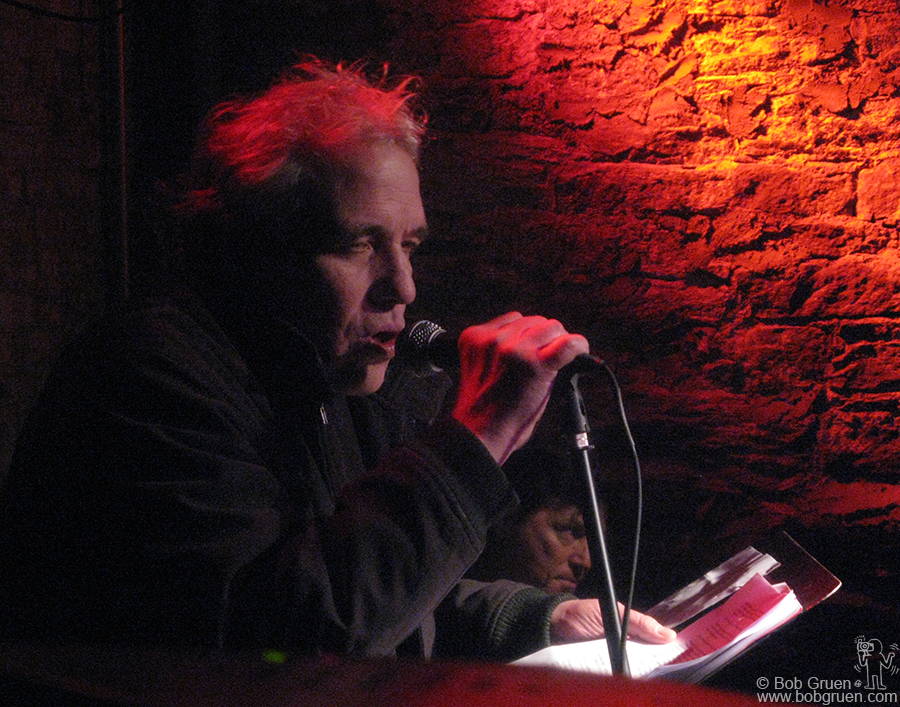 Jan 9 - NYC - Film Director Able Ferrer read from an interview with the late poet, Herbert Hunke, at a tribute to Hunke held at the Bowery Electric.