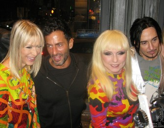 Jan. 13 - Debbie was joined by (from left) Sprouse model Terry Toy, Marc Jacobs and DJ Johnny Dynell at the party celebrating the release of a Rizzoli book about Steven Sprouse by Roger Padilha and Mauricio Padilha.