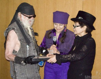 Feb. 1 - Yoko Ono presents an award of recognition to La Monte Young at an event at the Museum of Modern Art in New York. La Monte Young is an avant garde musician who was a big inspiration for composer John Cale, and many others.