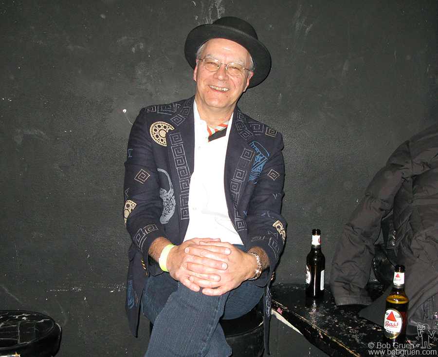 """Feb 5 - NYC - Walter Lore had a big smile while waiting to go on stage with his band """"the Waldos"""" at Don Hill's Club."""