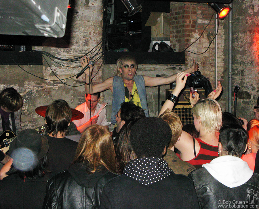 Feb 19 - NYC - Semi Precious Weapons played a secret show at the Bowery Electric. Singer Justin Tranter keeps the action going at a very hectic pace.
