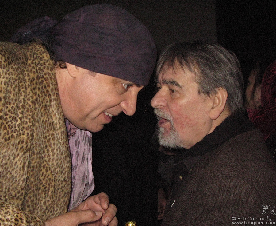 Feb 28 - NYC - Steven Van Zandt wishes Giorgio Gomelski a very happy 75th birthday. Giorgio entertained the crowd at his loft with stories of his early days, discovering and managing the Rolling Stones. He also demonstrated how he sang backup on one of the Yardbirds hit songs.