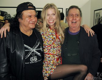 The man who told us about the Beatles in the '60's, publicist Pete Benett, poses for a photo with Theodora and music biz legend Danny Fields at the Not Fade Away opening.