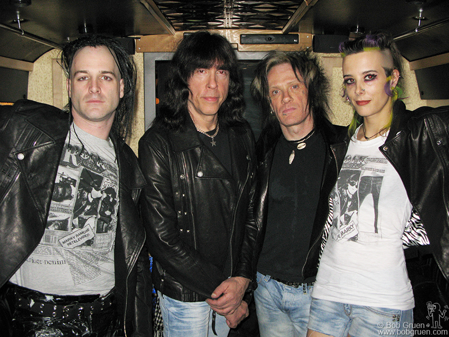 Marky posed in his bus with his band before going in to play at the Rock Scene party.