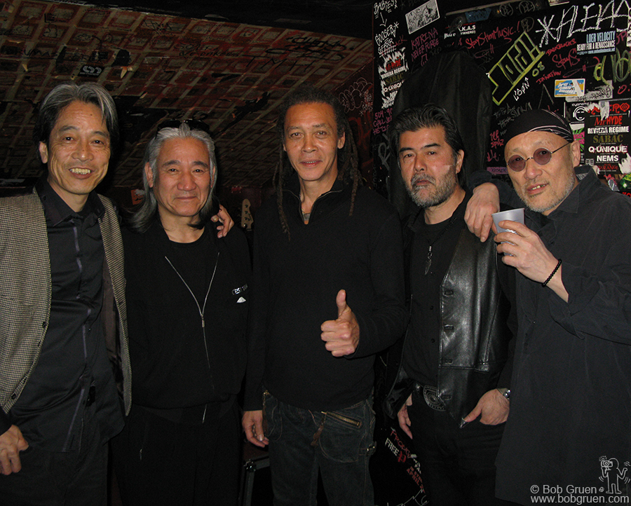 March 13 - NYC - The Flower Travellin' Band came to New York to play at the Knitting Factory as part of their first tour in 35 years. The band features my long time friend, singer Joe Yamanaka (center).
