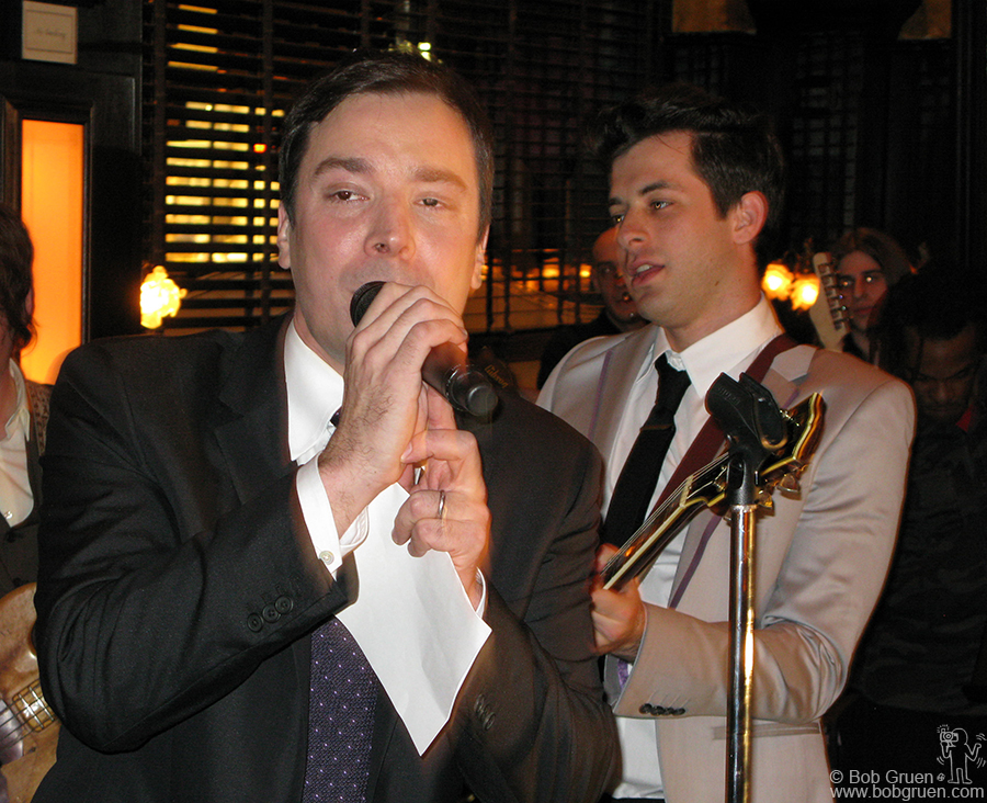 March 31 - NYC - Jimmy Fallon was a surprise guest singer in the show put on by Mark Ronson at the party for Top Shop at Balthazar restaurant.
