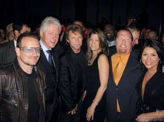 April 21 - The Food Bank is one of the great charities in New York, feeding 250,000 to 300,000 people every day in the city. At the benefit dinner this year Bono, ex-President Bill Clinton, Jon Bon Jovi and his wife; Mario Batali, and Rachael Ray were there.