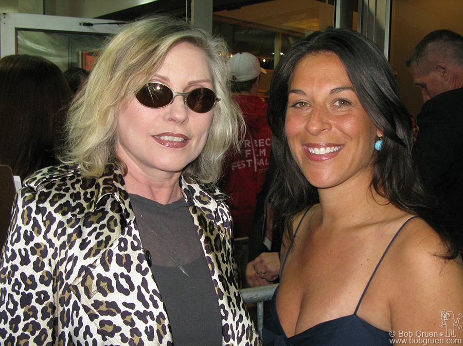 """April 24 - NYC - Mandy Stein greeted Debbie Harry at the Tribeca Film Festival opening of Mandy's movie, """"Burning Down the House"""", about CBGB."""