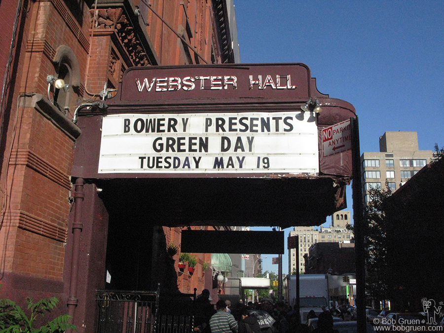 May 19 - NYC - Green Day on the Webster Hall Marquee.