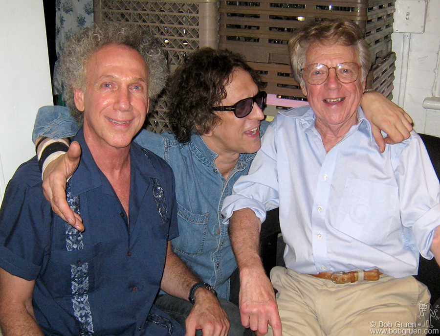 "July 17 - NYC - Bob Gruen & Mick Rock say hello to fellow photographer Dan Hunstein at Dan's exhibition at Morrison Hotel Gallery, Soho. Dan was the staff photographer for Columbia Records who took many fantastic photos for them, including the cover of ""Freewheelin' Bob Dylan""."
