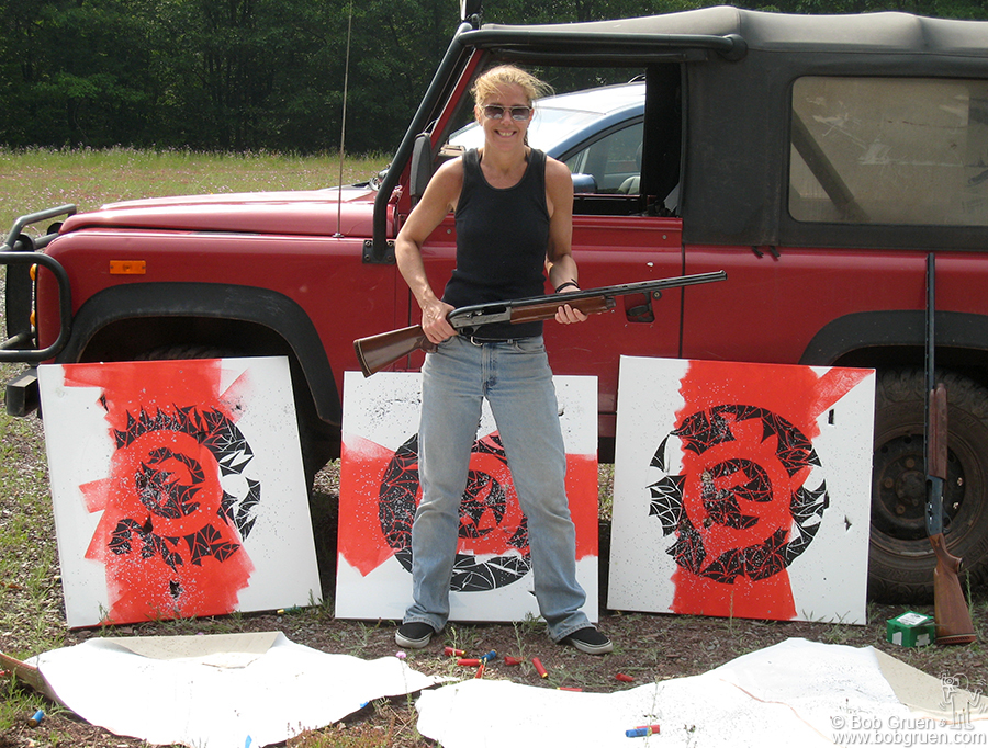July 20 - Hunter Mountain, NY - Elizabeth Gregory-Gruen added some shotgun blasts to her new artworks at Hunter Mountain.