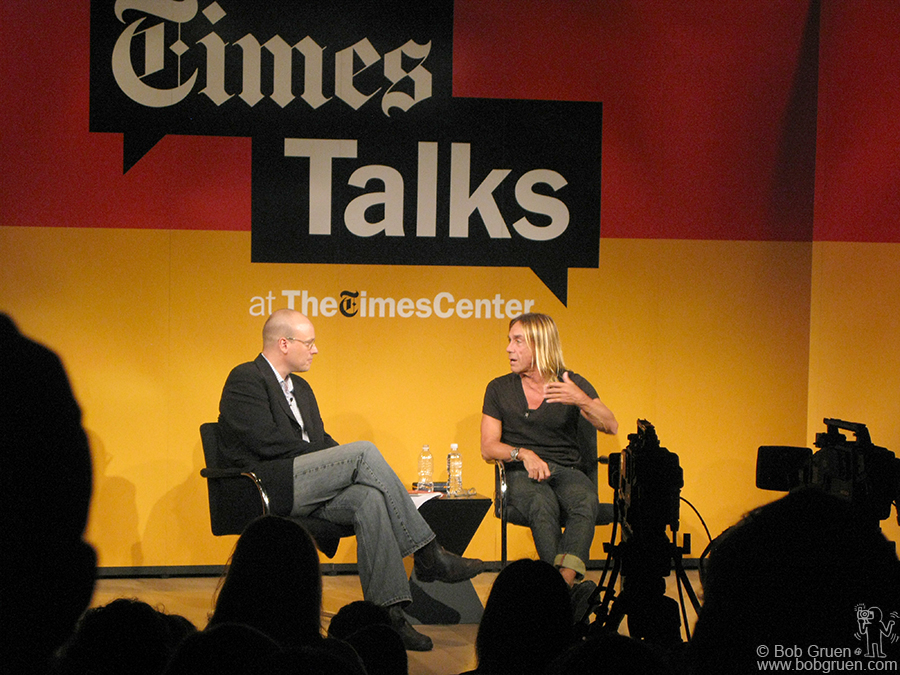 June 24 - NYC - Iggy Pop was interviewed by New York Times critic Ben Ratcliff at the New York Times Talks series. He was very articulate and open.