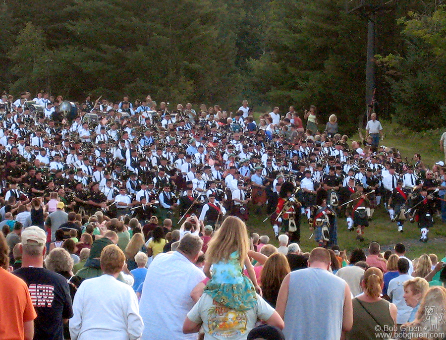 Aug 17 - Hunter Mountain, NY - More than 200 bagpipers paraded down Hunter Mountain for the annual Irish Day celebration there.