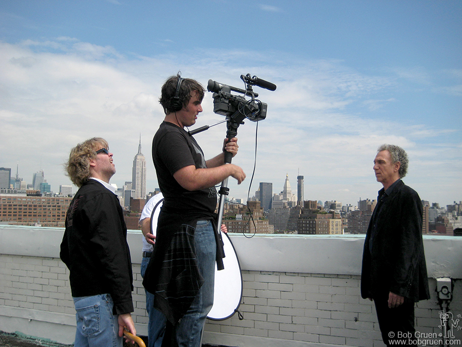 Aug 29 - NYC - Rick Fuller directs Darren Roark filming Bob Gruen for the upcoming documentary Rick is making about Bob's career.