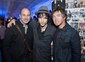 John Varvatos says hi to Jesse Malin and Danny Sage who played a week earlier in a reunion of their D-Generation band at John's party to celebrate the opening of his new store next door. Photo by Linda Rowe.