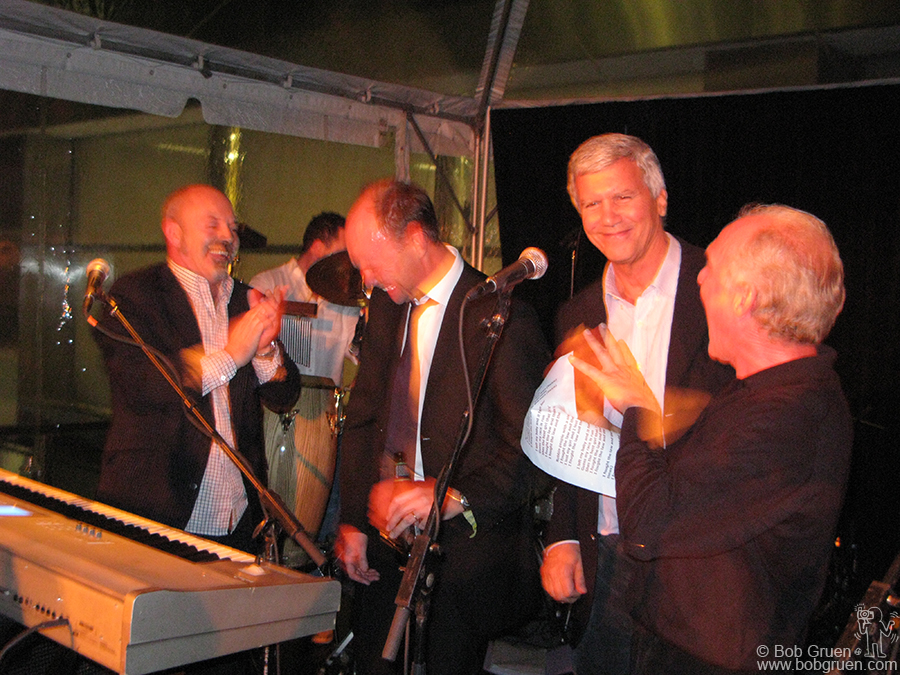 Lily Allen's dad comedian/actor Keith Allen, (at left) played with a band doing covers of popular '70's and '80's songs, and even got art dealer Larry Gagosian, (second from right) to join in onstage!