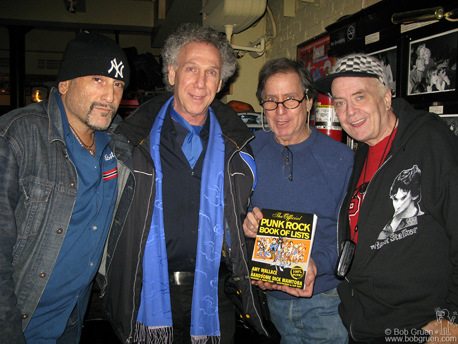 """Nov 15 - NYC - Handsome Dick, now an author known as 'HD Manitoba' unvieled his new """"Punk Rock Book of Lists"""" to me and fellow contributors of lists Danny Fields and Leee Black Childers, at his Manitoba's bar. Get a copy, it's a fun read!"""