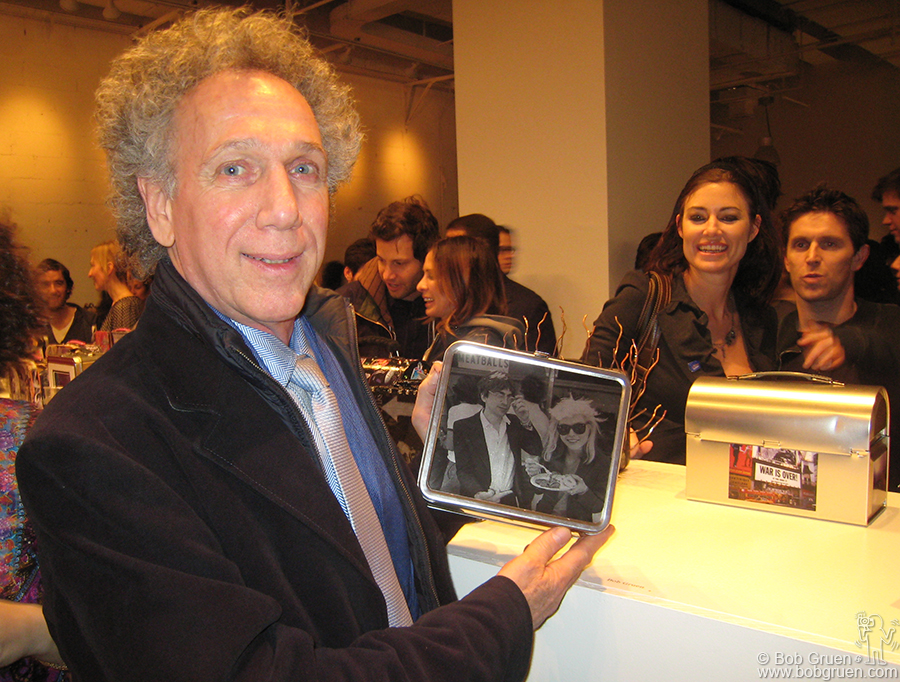 Dec 6 - NYC - I went to the party for the start of the auction of artist decorated Lunchboxes, with proceeds going to hunger relief organizations, and posed with the one I made.