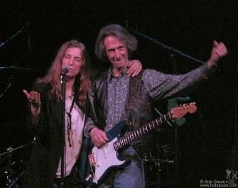 Dec 30 - Patti Smith played her annual series at the Bowery Ballroom celebrating her birthday as well as the New Year, here cheered on by her band mate, the great Lenny Kaye.