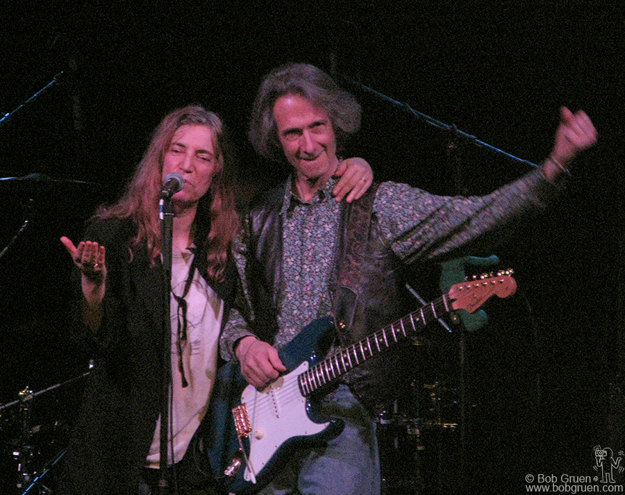Dec 30 - NYC - Patti Smith played her annual series at the Bowery Ballroom celebrating her birthday as well as the New Year, here cheered on by her band mate, the great Lenny Kaye.