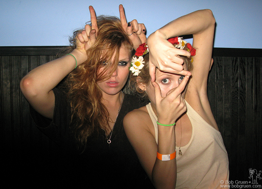 Theodora and Alexandra Richards at the Kills after-party in Jesse Malin and Johnny T's hot new club, the Bowery Electric.