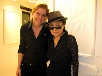 Jan 31 - My wife, Elizabeth Gregory & Yoko Ono at the closing party for Elizabeth's exhibition of her artwork. Yoko was impressed and bought one of the pieces.