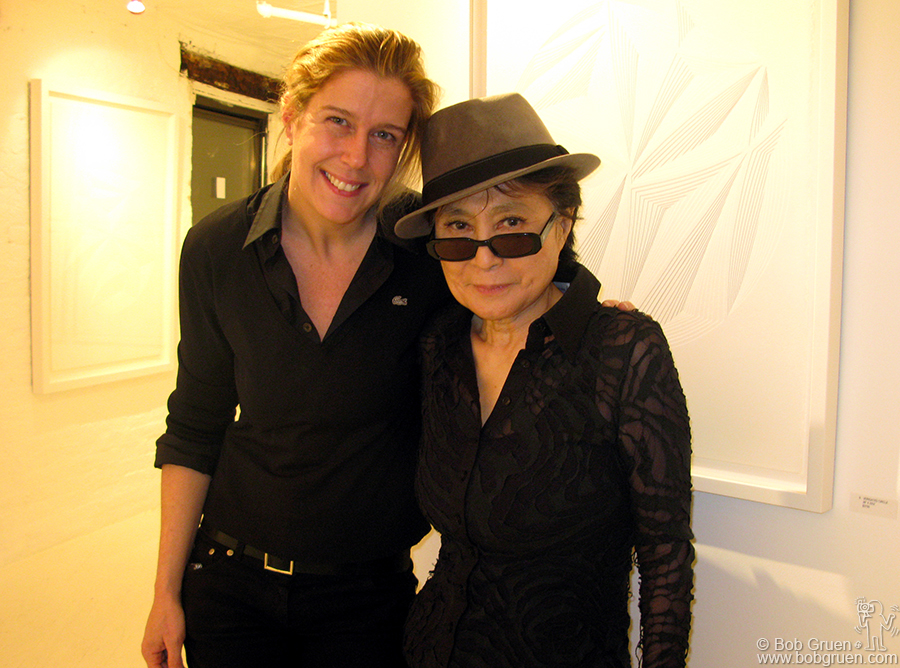 Jan  - NYC - My wife, Elizabeth Gregory & Yoko Ono at the closing party for Elizabeth's exhibition of her artwork. Yoko was impressed and bought one of the pieces.