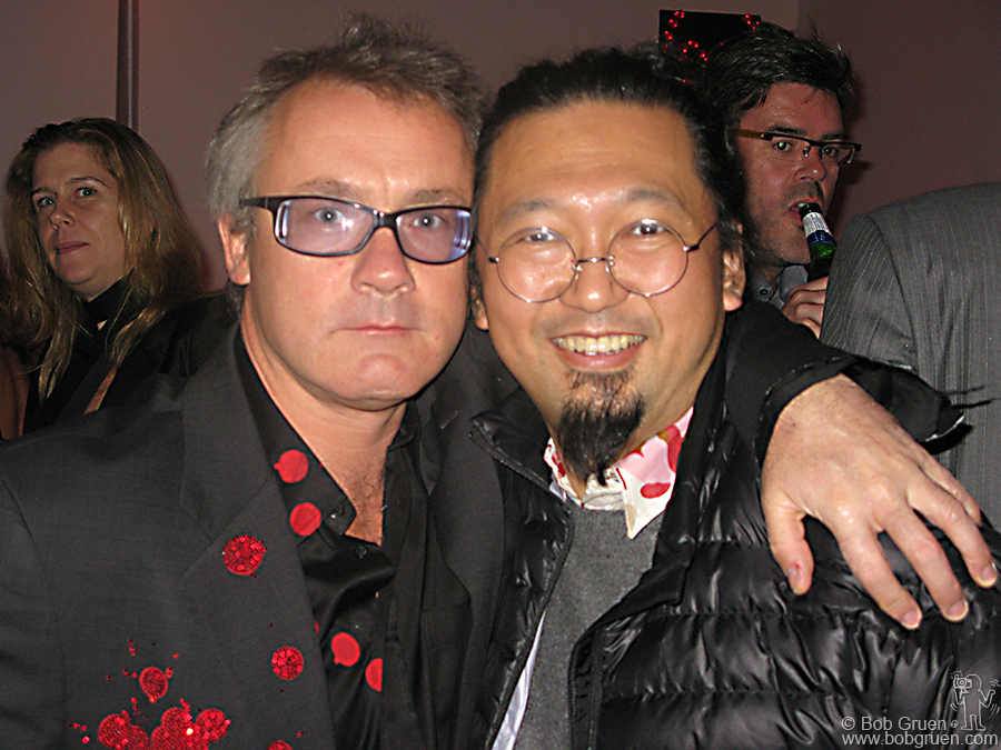 Damien with Takashi Murakami, one of his world famous artist friends who contributed to the auction.