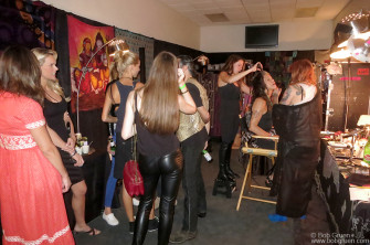 September 3 - Newark, NJ- Steven Tyler had a party-like atmosphere in his dressing room with loud music, models and makeup people before Aerosmith's show at the Prudential Center.