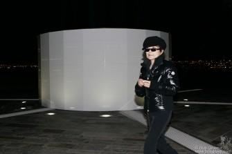 After her dedication Yoko took a walk around the Tower. It has six light sources beaming through tunnels to the center where they are reflected upwards with 9 other lights, making for a very bright beacon for Peace.