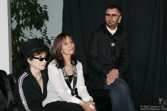 Yoko, Olivia and Ringo wait to say a few words at the after party at the Reykjavik Art Museum.