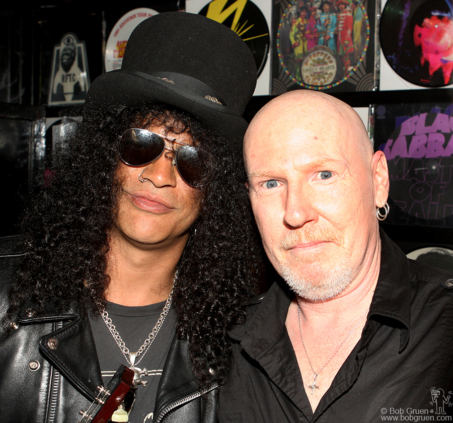 Slash & Cheeta Chrome backstage at the John Varvatos store opening party.