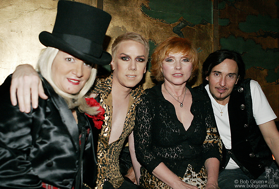 """Event """"hostess with the mostess"""" Chi Chi Valenti with Miss Guy, Debbie Harry & DJ Johnny Dynell."""