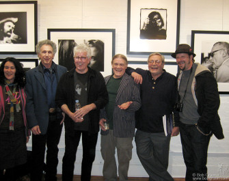 April 19 - Graham Nash of Crosby, Stills, Nash and Young had an exhibition of his photographs at Morrison Hotel Gallery, NYC. He was greeted by some of the photographers represented by the gallery, from the left Jannette Beckman, me, Graham, Henry Diltz, Rowland Scherman and Danny Clinch.