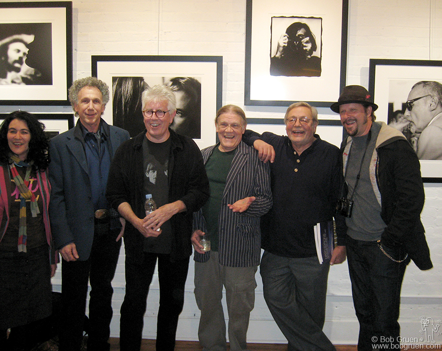 April 19 - NYC - Graham Nash of Crosby, Stills, Nash and Young had an exhibition of his photographs at Morrison Hotel Gallery, NYC. He was greeted by some of the photographers represented by the gallery, from the left Jannette Beckman, me, Graham, Henry Diltz, Rowland Scherman and Danny Clinch.