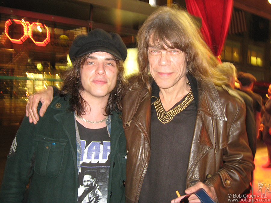 """April 24 - NYC - David Johansen, New York Dolls lead singer, was a guest DJ at the Blender Magazine Party at the new Blender Theater on East 23rd street. He rocked the house with his eclectic choice of music, similar to what he plays on his Sirius Satellite Radio show """"The Mansion of Fun"""". With David, above, is his friend and engineer, NJ musician/DJ Keith Roth"""