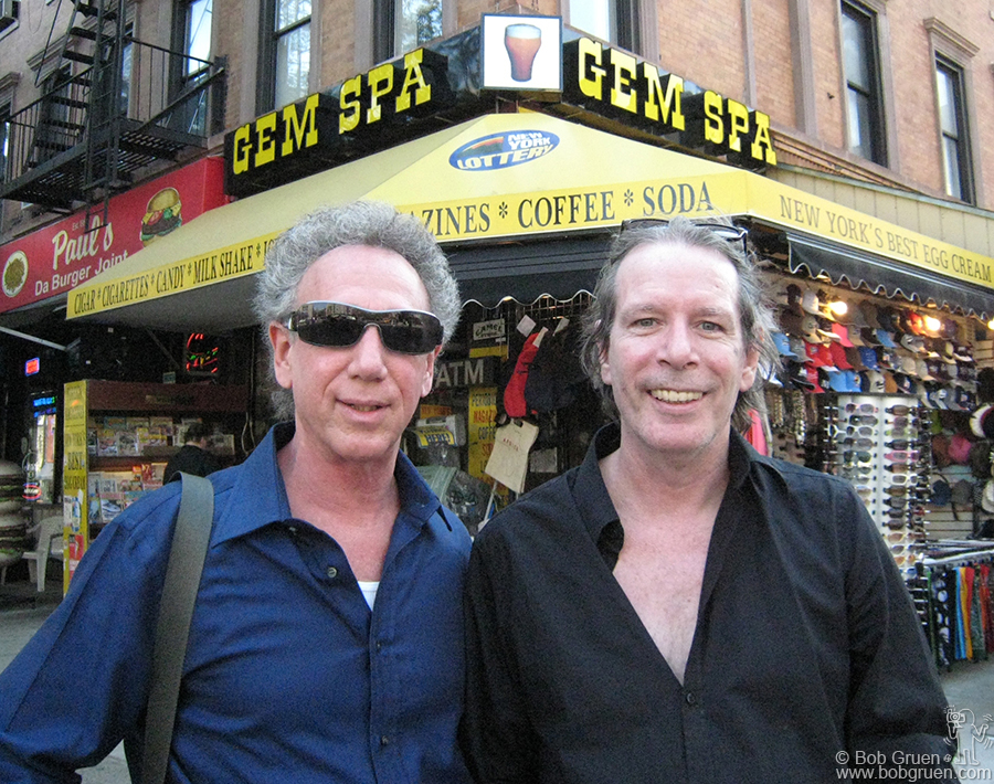 May 24 - NYC - Legs McNeil and I met recently in the East Village to talk about some book projects, including a planned book of my New York Dolls photos, so it was only fitting that we have our photo taken in front of Gem Spa on 2nd Ave.