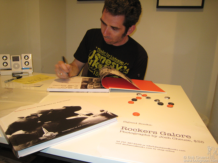 June 7 - NYC - Photographer and Art Director, Josh Cheuse, signs copies of his new book 'Rockers Galore' at the Dashwood bookstore in New York. Josh's book is a beautifully made chronicle of the path he followed photographing some of the icons of the art, music, and film scenes of the '80's and 90's. Josh didn't visit this scene as an outsider but lived it (and still does) and the book shows it.