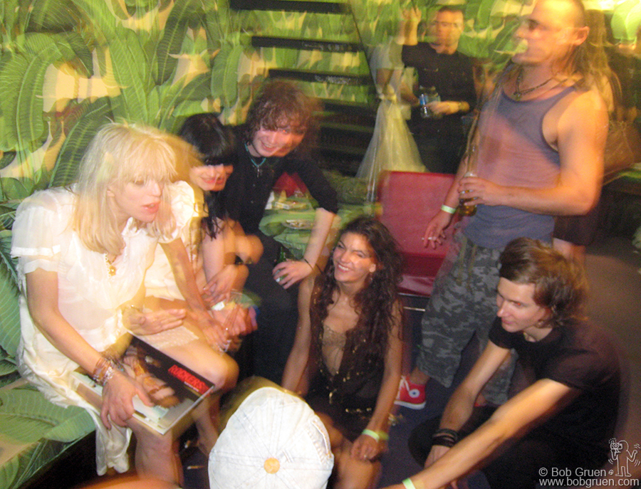 """Backstage Courtney took time to introduce her young band to a writer from Rolling Stone Magazine """"I'm old enough to be the mother of each member of my band"""" she said. They may be young but they rocked!"""