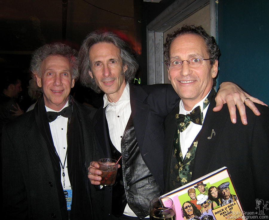 Bob Gruen with Lenny Kaye of the Patti Smith Group and Billy Kornreich, one of the founding directors of the R & R Hall of Fame.