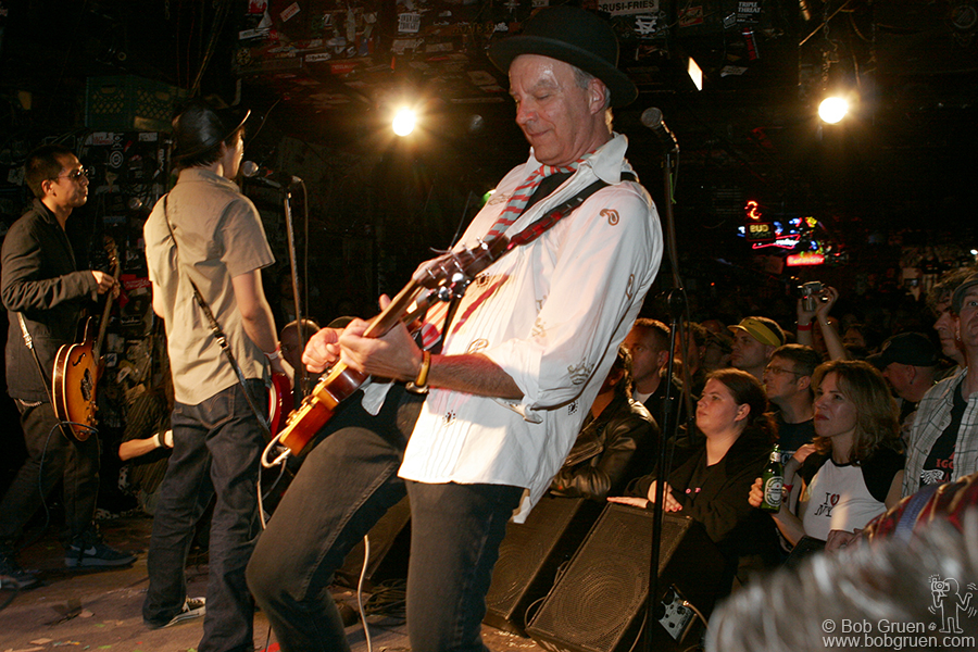 Oct 14 - NYC - Walter Lure takes a guitar break as Easy Spaceman sings during the set by The Waldos on the last Saturday. They played a lot of songs from Walter's old band the Heartbreakers.