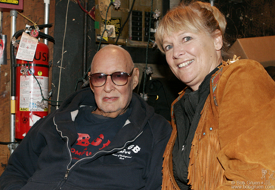 Oct 14 - NYC - Hilly Kristal and his companion Wendy sat at his usual place at the door greeting all the old friends who came to wish him well. Hilly built the club personally, by hand, one nail and one show at a time. Thank you Hilly!
