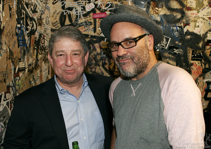 Oct 14 - NYC - Jimmy Winbrandt who played CBGB many times in the Miami's says hi to filmmaker Amos Poe.