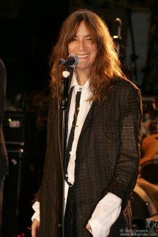 Patti Smith smiled as she came on the stage for the final show of CBGB.