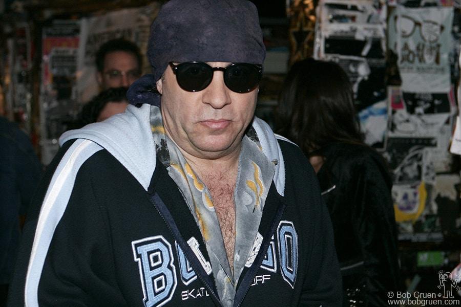 Oct 15 - NYC - Little Steven van Zandt, a true rock fan stopped in to breathe the air of CBGB on last time.